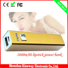 Best Quality Power Bank 2600mAh Rechargeable With Stainless Steel Design Tube External Style