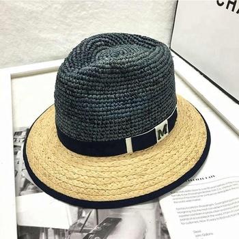 e6299d8059acd Classic Style Customized Logo Raffia Straw Fedora Sun Hat