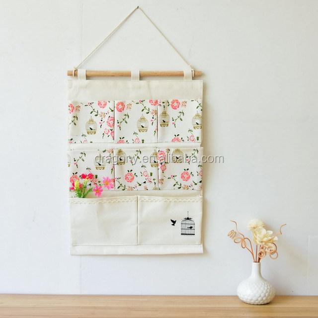 Printed Wall Pockets Organizer Hanging Storage Bags Back Of Door