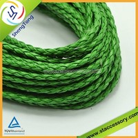 Various size high quality braided leather cord wholesale