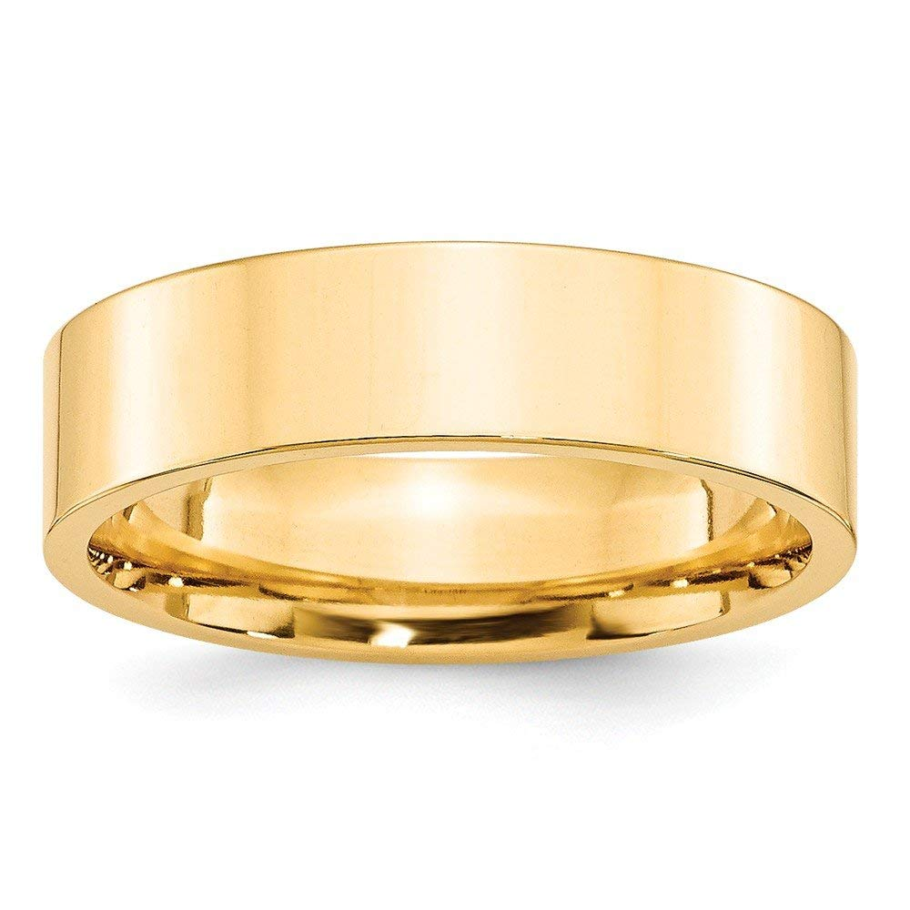 Best Designer Jewelry 14KY 6mm Standard Flat Comfort Fit Band Size 14