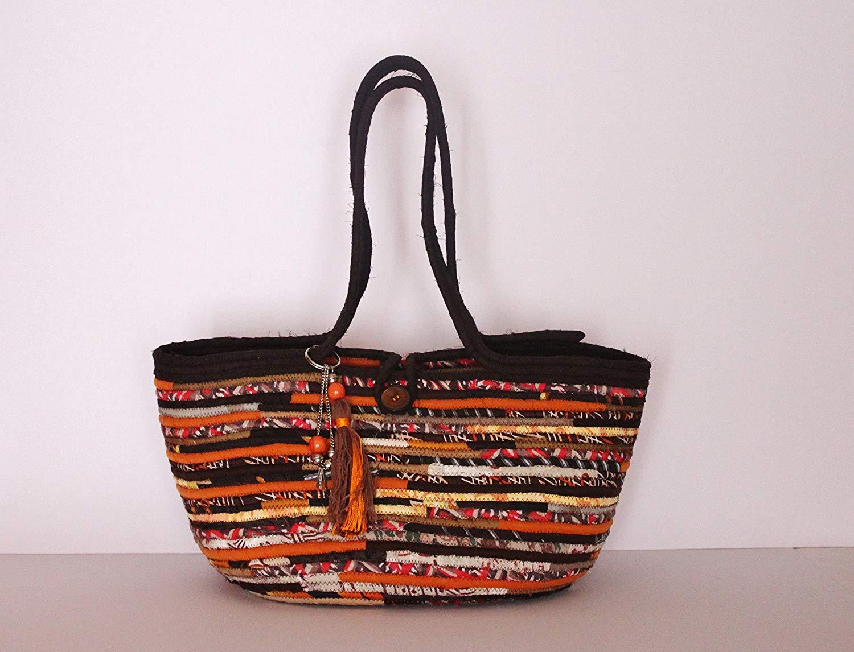 Brown and Orange Boho Basket Bag, Handmade Basket Style Bag, Boho Style Market Bag