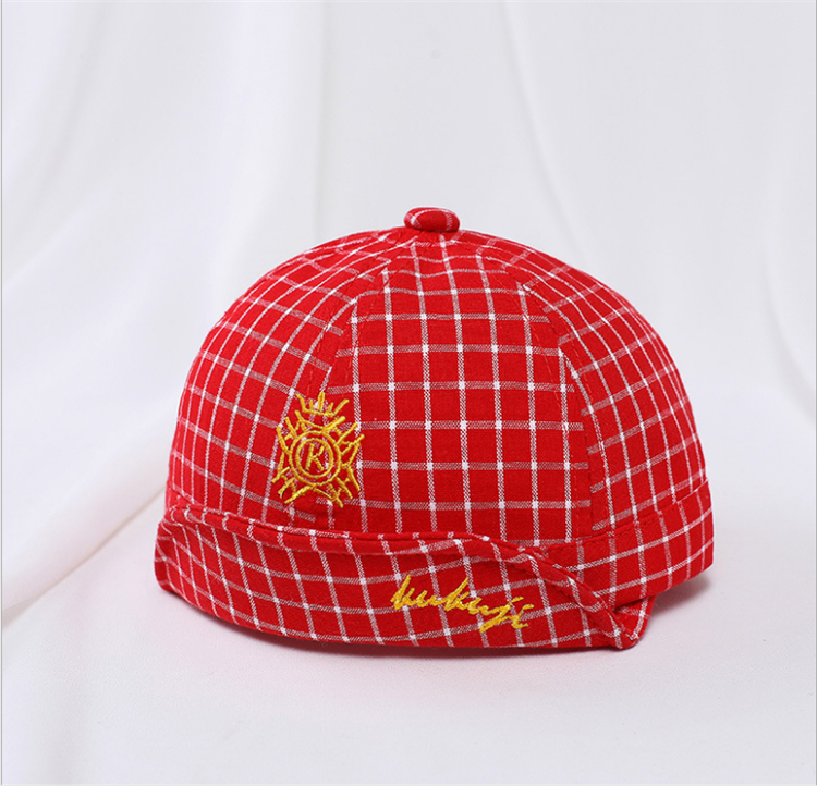Summer Custom made fashion plaid printed baby kids lovely baseball cap