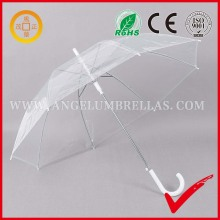 "High Quality Cheap Price 21""*8 Ribs Promotional Transparent Straight Rod Umbrella with J Handle"
