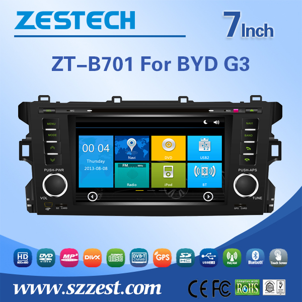 2 din in-dash car gps navigation sytem for BYD G3 car radio player car audio player with external microphones GPS DVD USB/SD BT