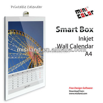 2015 Creative Mini-color DIY Inkjet printable wall Calendar ( A4 size,free software support, made by hand)