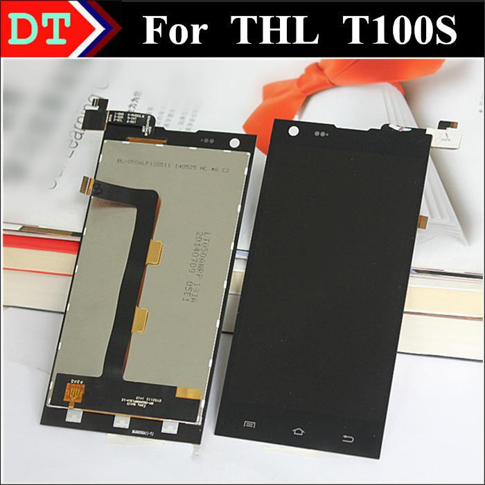 Thl T100S жк-дисплей + цифрователем сенсорный экран ассамблея для THL T100S 1920 * 1080 FHD без рамки черный цвет