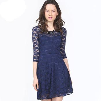 2014 Latest Designs Celebrate Clothing Women Blue Half Sleeve Belt Lace  Skater Dress 3472282d2