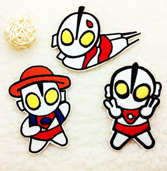 "Free Shipping 30 pcs/lot ""Ultraman"" Embroidered patch iron on Motif Cartoon Applique, garment embroidery patches DIY accessories"