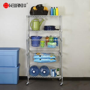Hot Sale 5 Layers Heavy Duty Chrome Metal room Utility Storage Rack Shelving with Slide Wire Basket