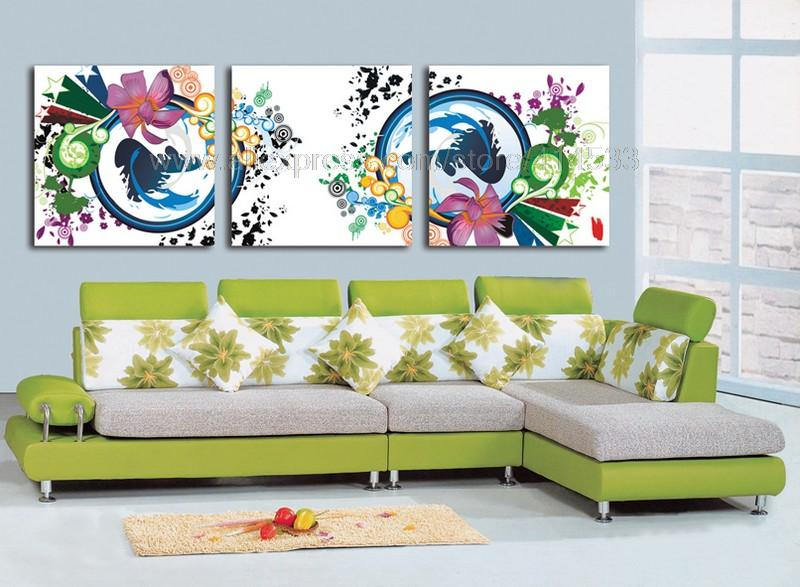 Cheap Wall Art And Decor: Color Flowers Reproduction 3 Set Print On Canvas Discount