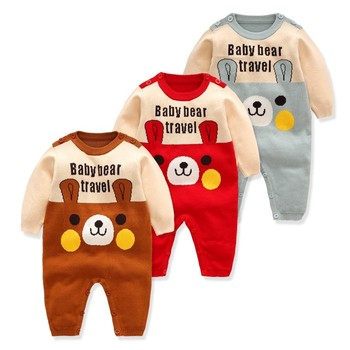 2019 Latest autumn winter thick bear print baby jumpsuits knitted sweater