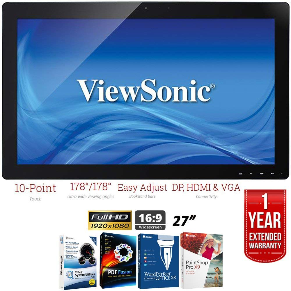 """ViewSonic TD2740 27"""" 1080p 10-Point Multi Touch Screen Monitor HDMI, DisplayPort + Elite Suite 17 Standard Software Bundle (Corel WordPerfect, Winzip, PDF Fusion,X9) + 1 Year Extended Warranty"""