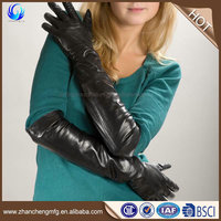 High quality ladies long black smartphone sheepskin leather touch gloves