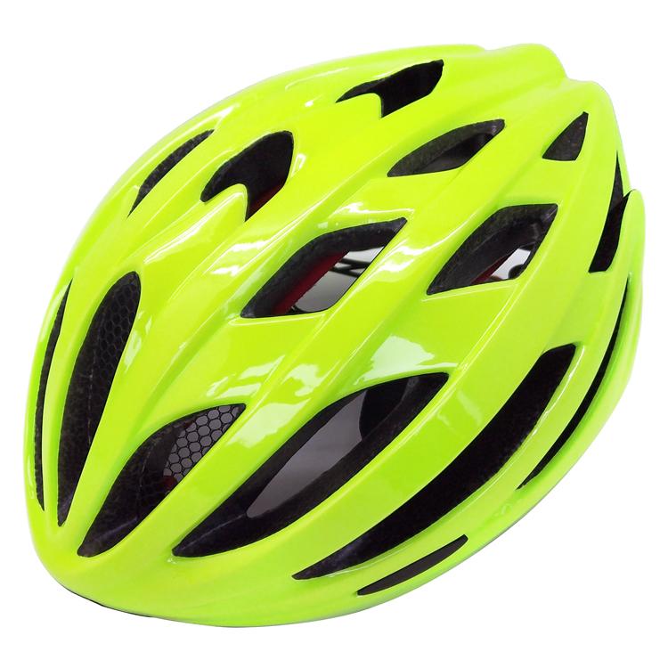 Fluorescent green road racing bike helmet