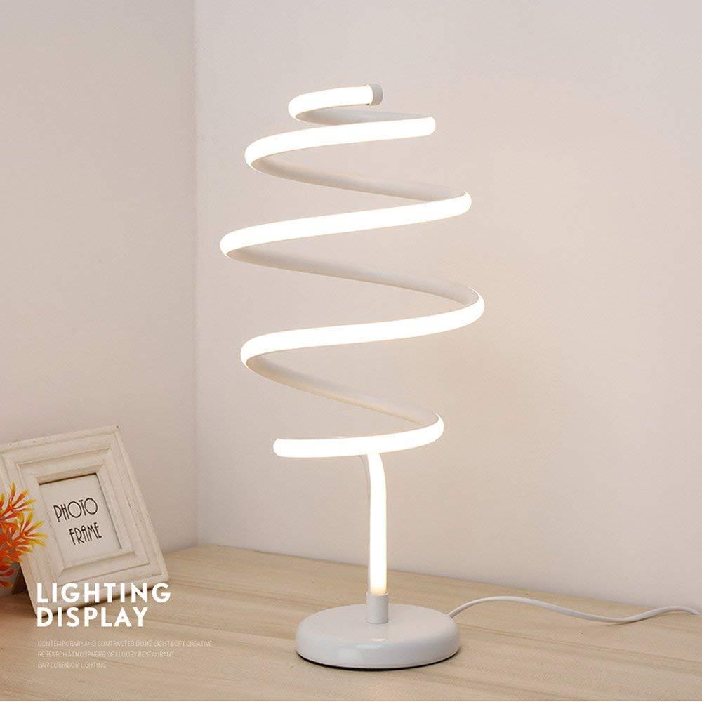 Alloy Led Spiral Tornado Table Light Creative Simple Modern Personality Desk Study Desk Lamp Desk Light Nordic Living Room Postmodern Fashion Bedside Desktop Light Reading Lamp (Color : White)