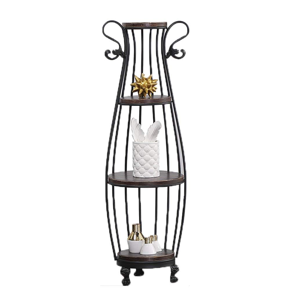 CSQ Living Room Wrought Iron Flower Stand, Plant Stand Shelf Iron Frame Board Multi-Layer Black/Gold Living Room Bedroom Study (Color : Black, Size : 42145)