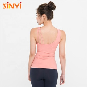 Fashion Supplex Active Wear One Shoulder Women Training Vest Custom Loose Gym Tank Top