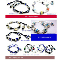 Cheap Turkish Glass Evil Eye with Rhinestone Rondelle Spacer Macrame Bracelet