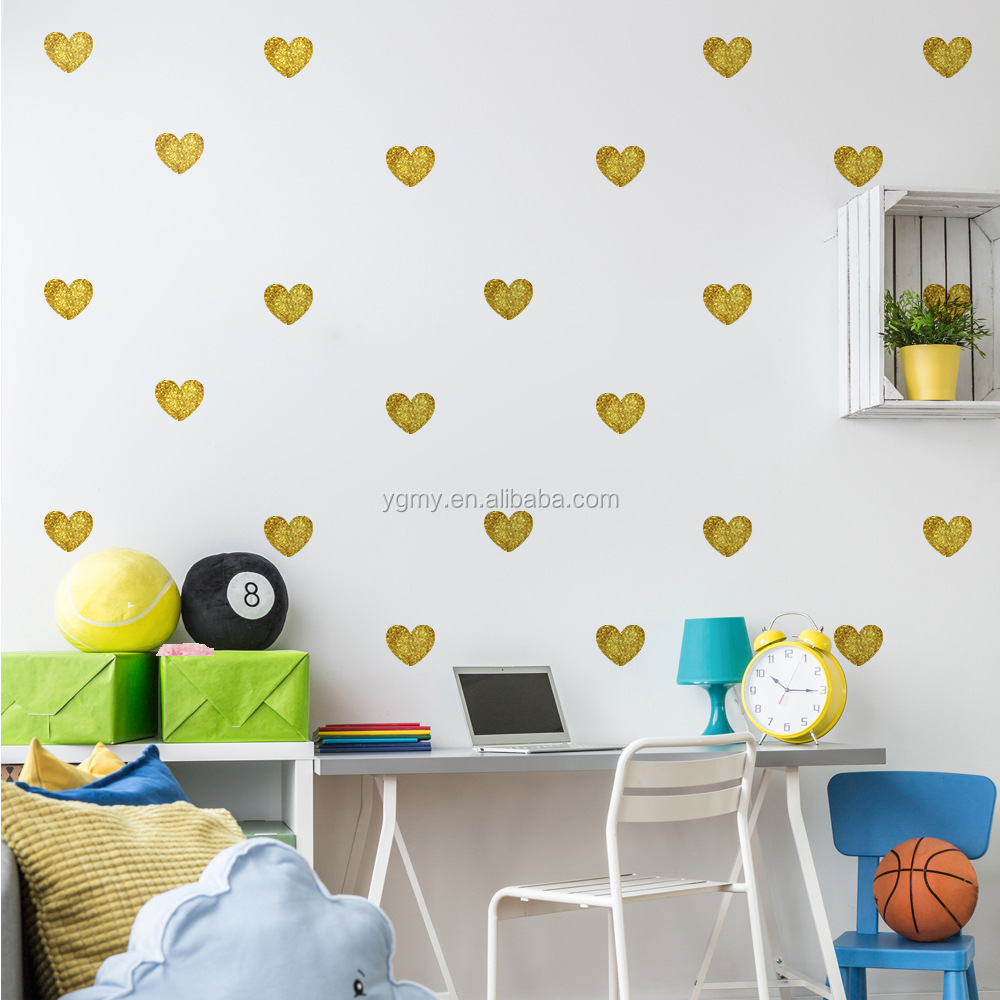 Metallic gold wall stickers heart shaped pattern vinyl wall decals metallic gold wall stickers heart shaped pattern vinyl wall decals nursery art decor little hearts amipublicfo Image collections