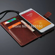 Free shipping Xiaomi Mi4 Leather Case Ultra Thin and High Quality Cover Function For Xiaomi Mi 4 m4 cell phone cases flip shell