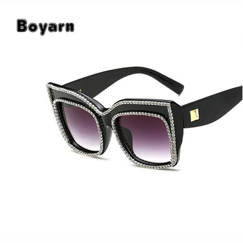 5bfc72bb2f16 Boyarn 2018 Women Frame Sun Glasses Shades Luxury UV Cat Eye Sunglasses  Oversized Square Rhinestone Diamond