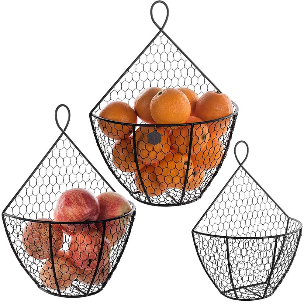 Chicken Wire Hanging Produce Bins Wall Mounted Brown Metal Fruit Vegetable Baskets