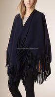 Navy Fringed Felted Wool Cashmere scarf Poncho
