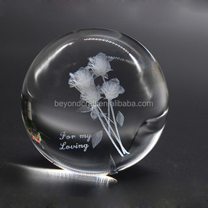 The 3D Engraving Rose Crystal Ball Sphere Best Birthday Gifts to Girlfriend