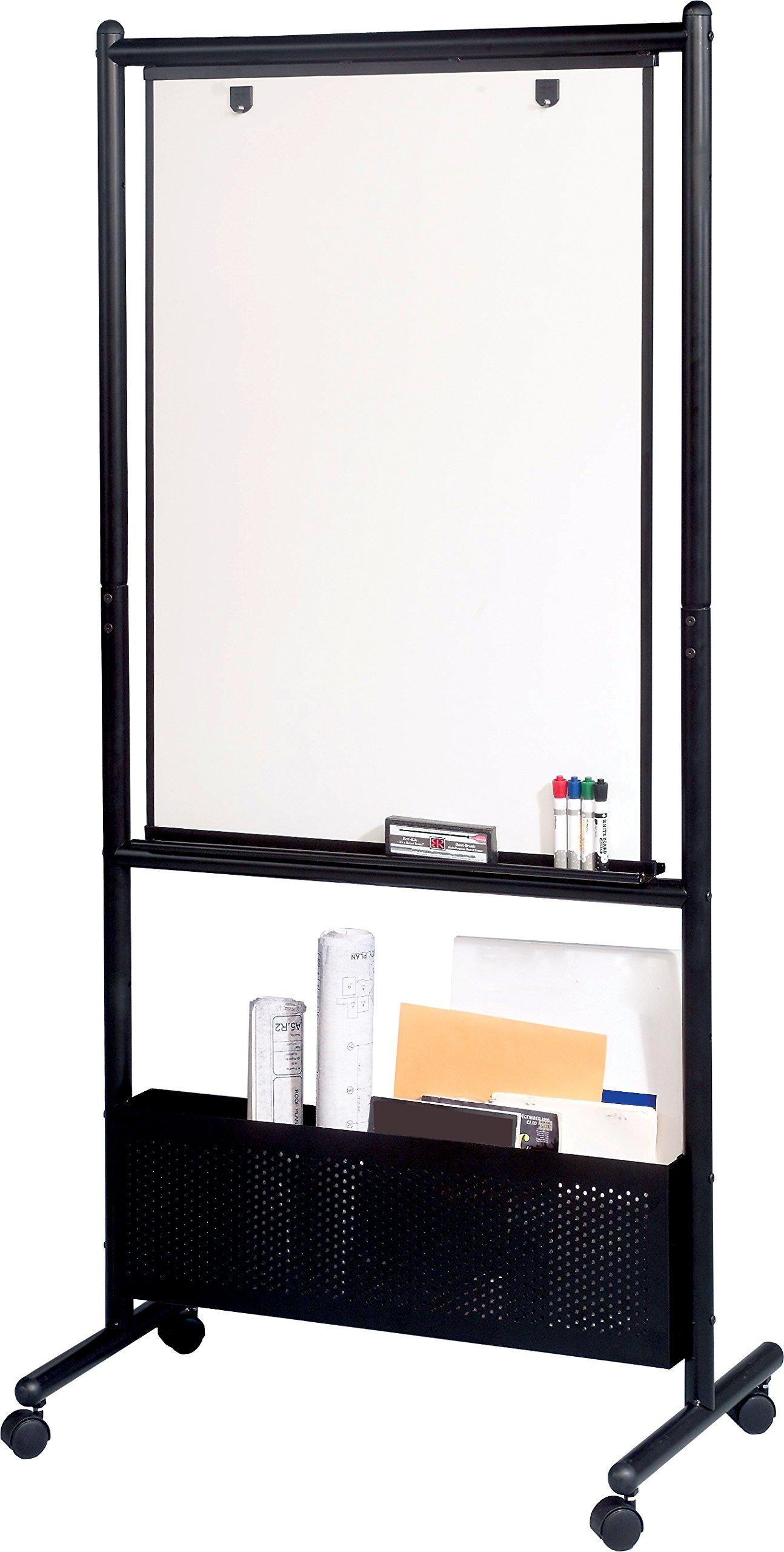 "Best-Rite Mobile Nest Easel, Black Frame, Double Sided Porcelain Steel Whiteboard, 72""H x 34.75""W x 24""D (781P)"