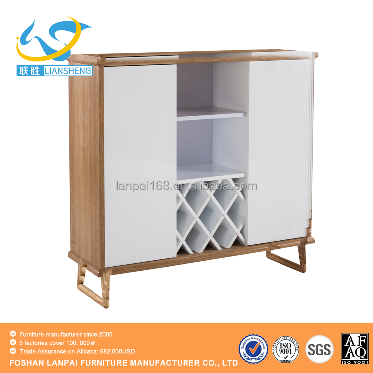 European style wooden cupboard with showcase designs high quality side cabinets
