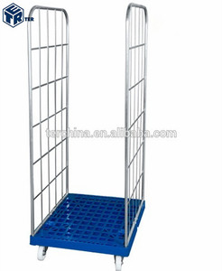 ROLL CAGE CONTAINER 2 SIDES WITH PEHD PLASTIC BASE FOR RETAIL STORAGE AND TRANSPORTATION INTO TRUCKS