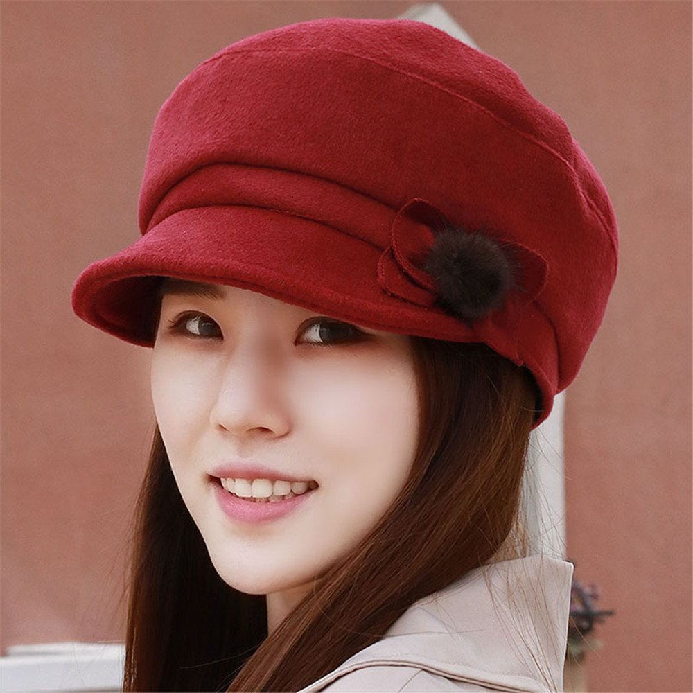 4bf0be5f13e Get Quotations · Women children show thin Winter Hat Cap ray limpets  octagonal peaked cap cap for elderly mother