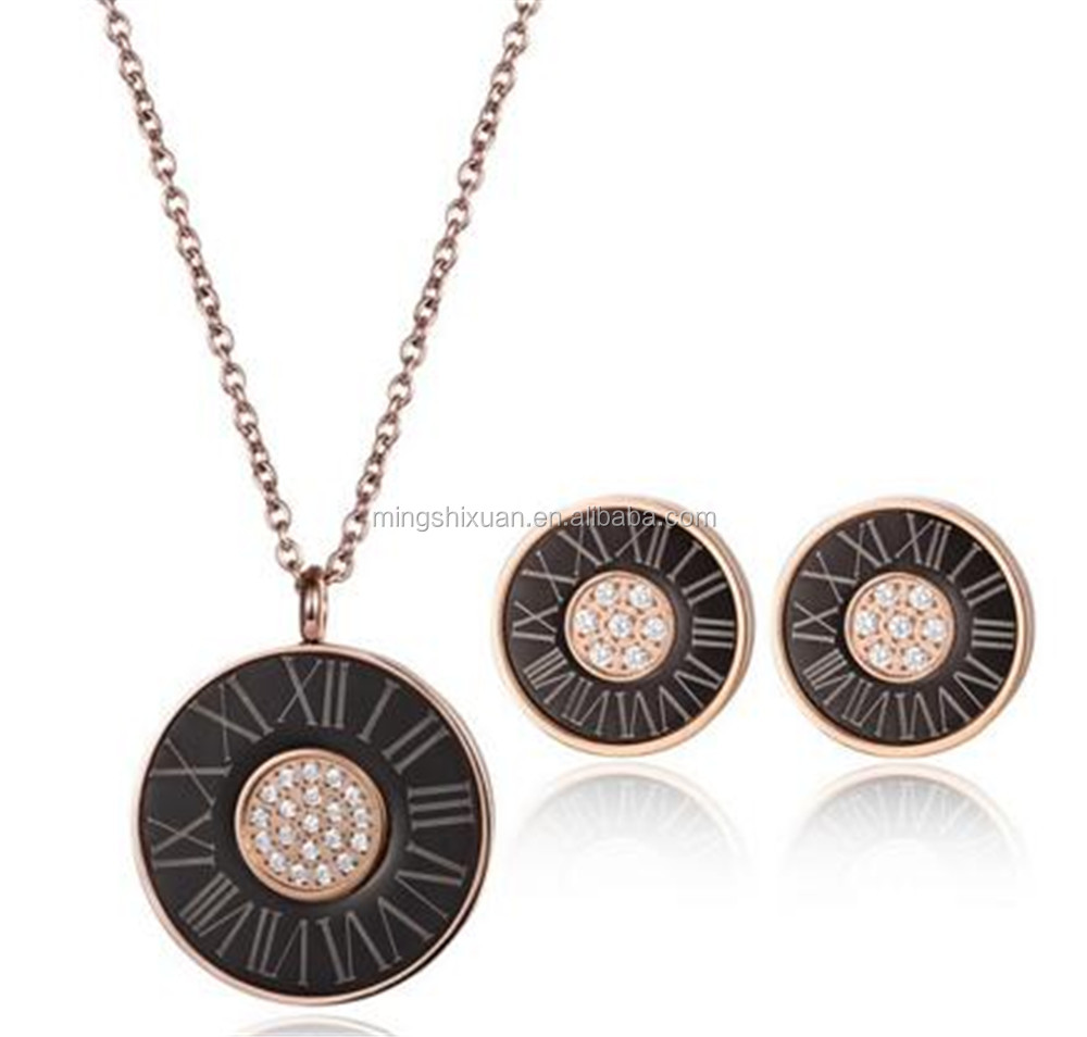 Fashion Roman number stainless steel jewelry set with ear ring and necklace