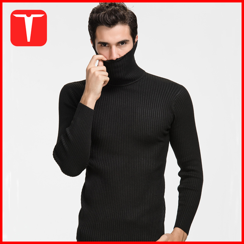 Ribbed pullover mens turtleneck sweater