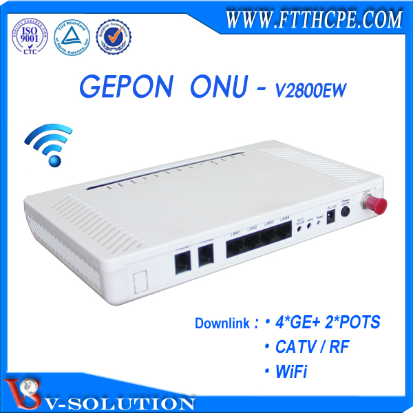 4GE+2Voice+CATV+WiFi GEPON ONU Voice Gateway CATV Receiver STB Set Top Box for Triple Play Service