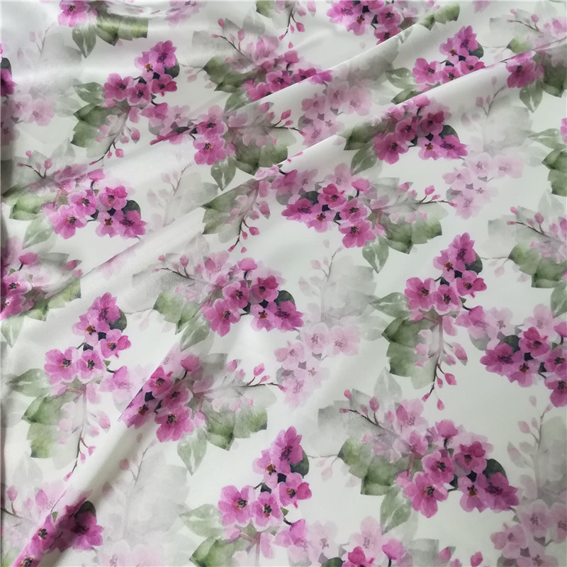 50*75D 95% poly 5%spandex digital printed shiny satin fabric