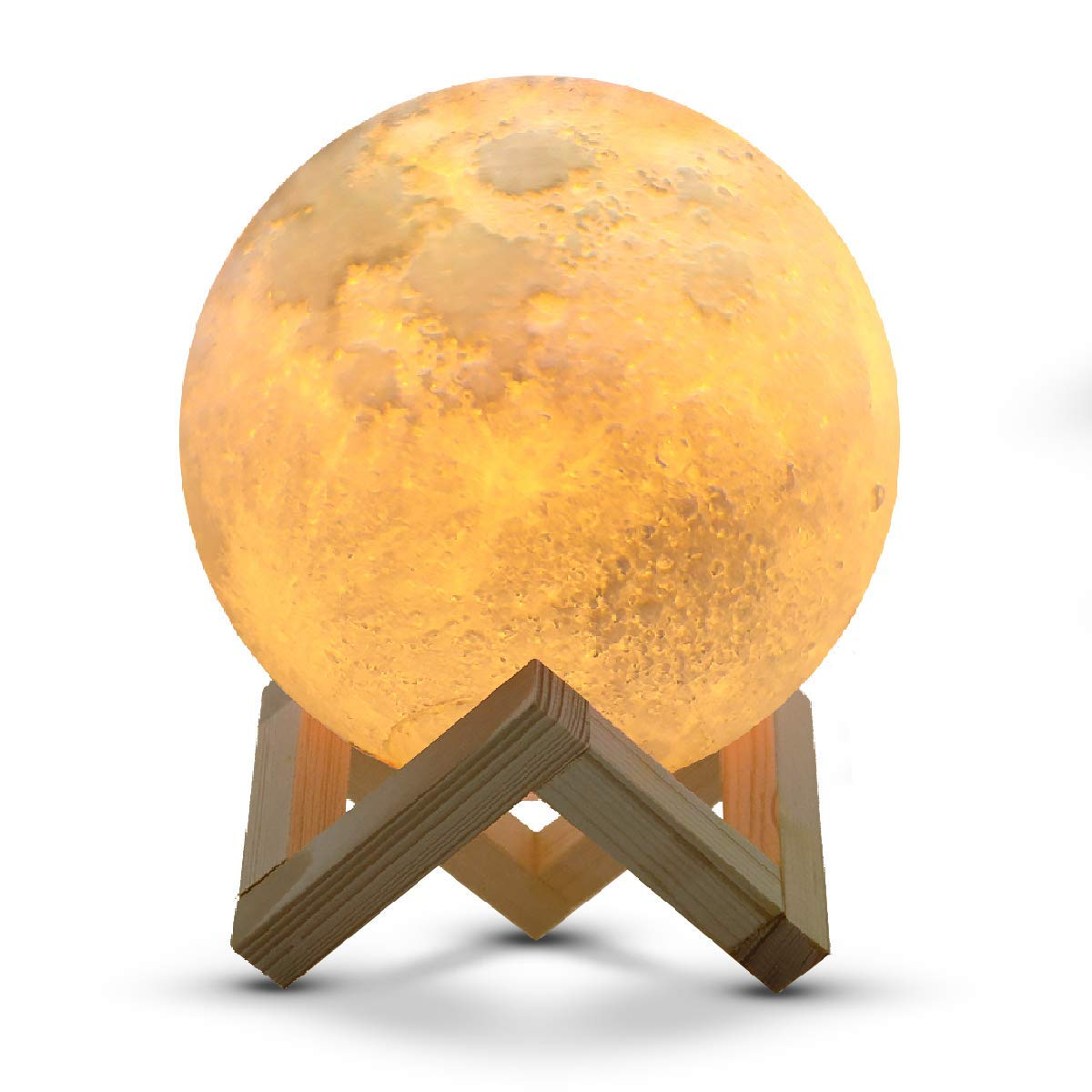 Large! IDEAcone Moon Light Lamp, Luna Moon Lamp, Modern Home 3D Printing Lamp, Warm Yellow/Cool White Double Switch Night Light with Wooden Mount