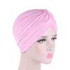 Wholesale Knotted Polyester Muslim Indian Hat Plain Bonnet Chemo Sleep Cap Women Hair Turban TJM-24