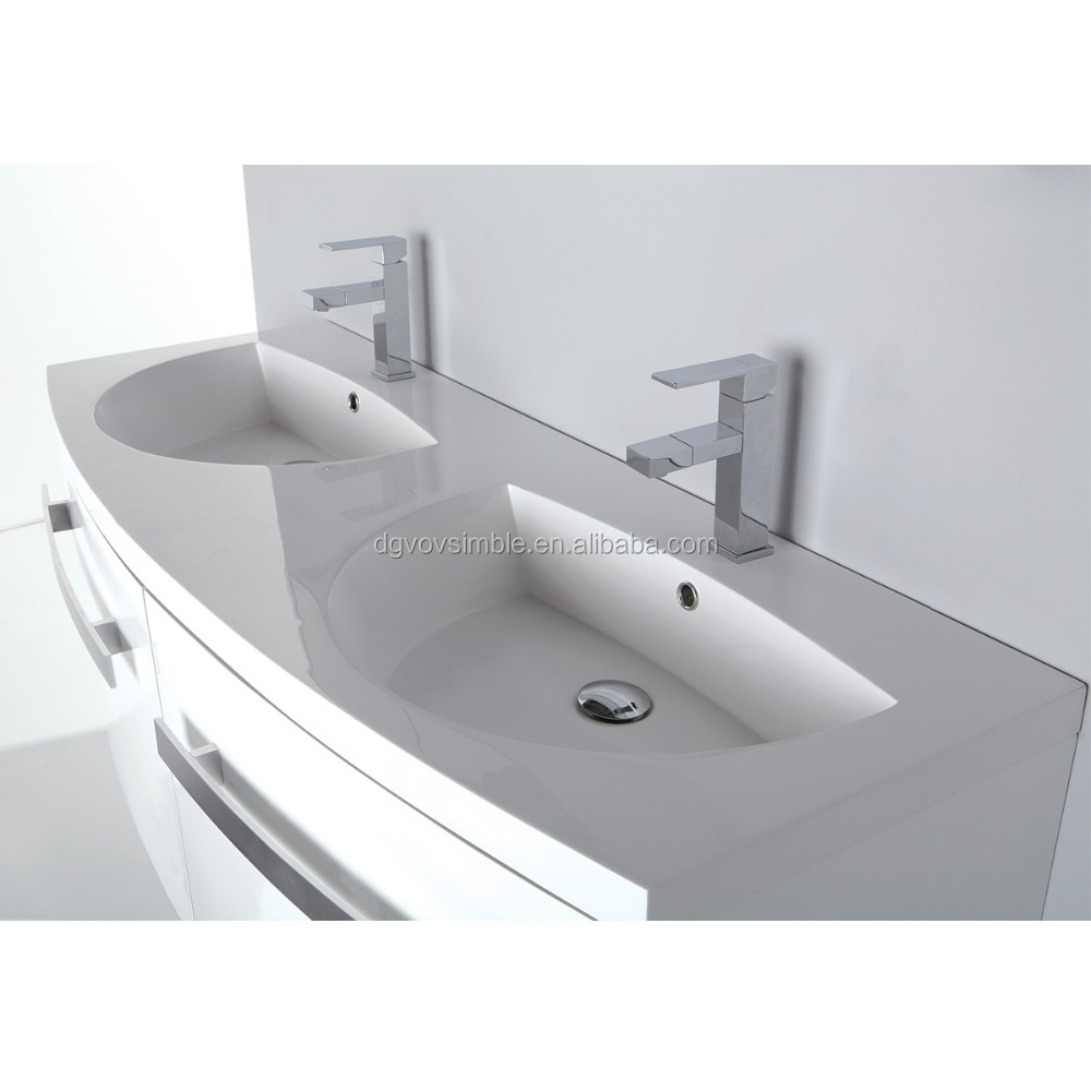 Double Sinks Acrylic Resin Vanity Top,Artificial Stone Bathroom Wash ...