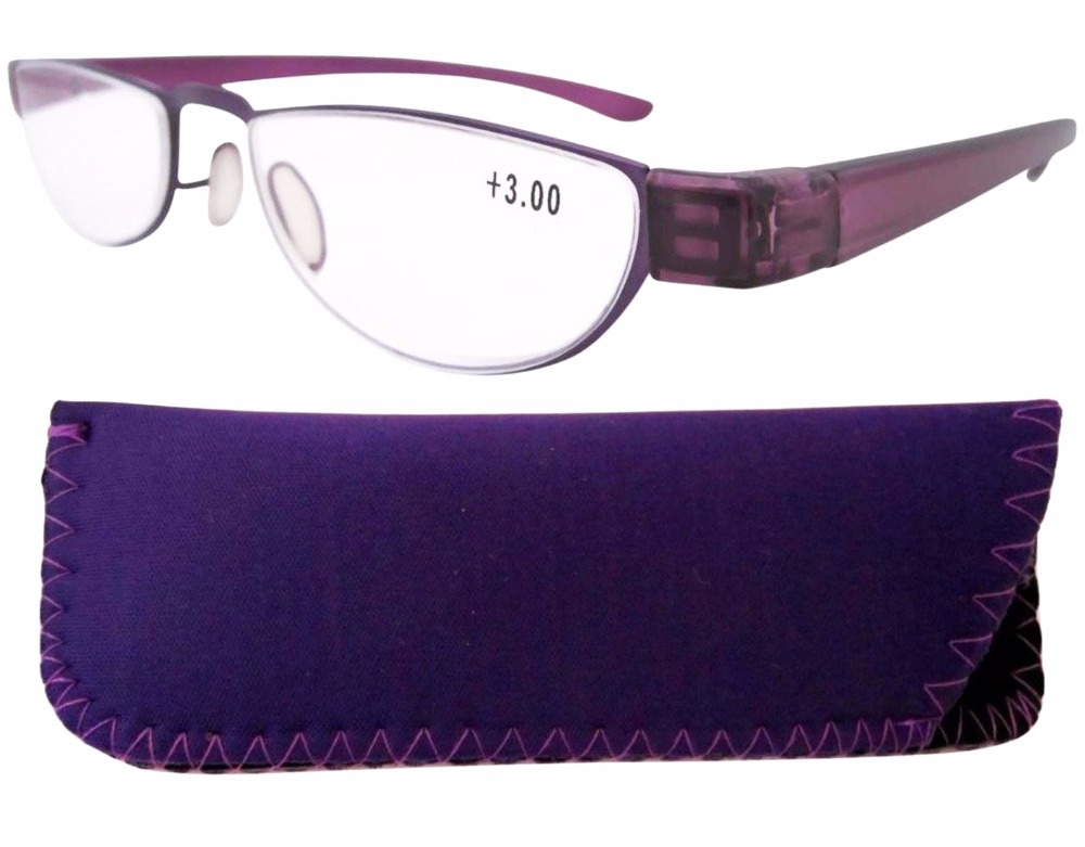 aea3ba7e6e Get Quotations · R11003-Purple Stainelss Steel Frame Rim Plastic Arms  Women s Reading Glasses +1.0 1.25