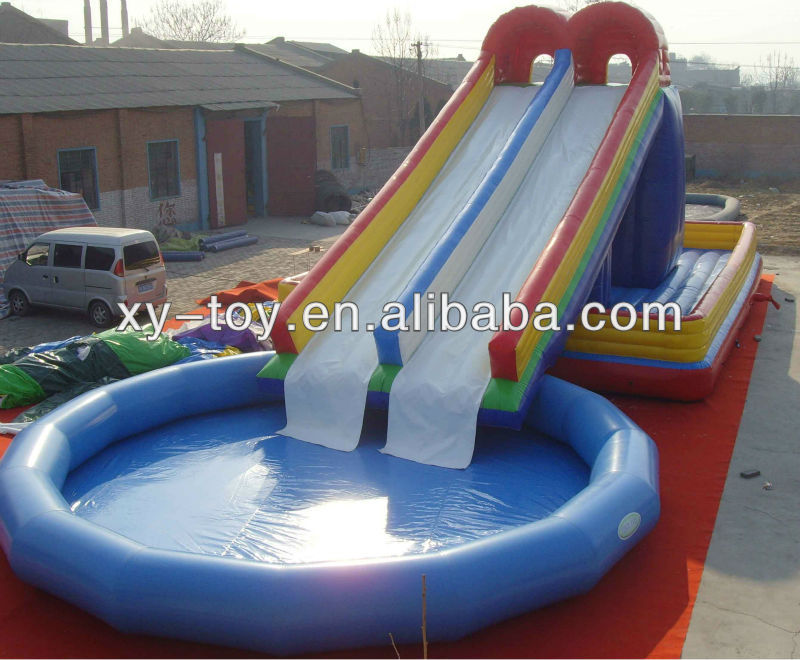 Super splash slide com piscina nylon infl vel water slide for Toboggan piscine adulte