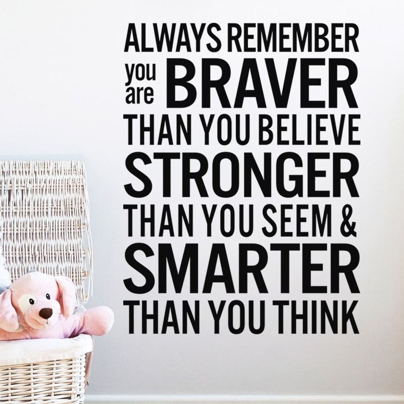 Always Remember You Are Braver Living Room Wall Sticker <font><b>Inspiring</b></font> Text Quotes Self Adhesive Vinyl Removable <font><b>Home</b></font> <font><b>Decor</b></font>