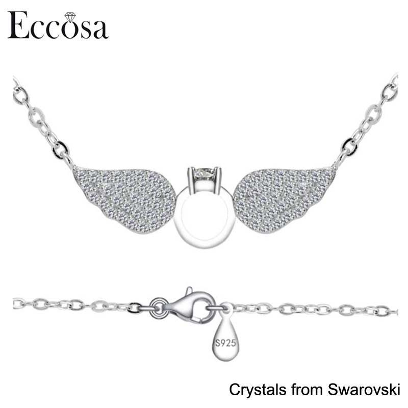 Eccosa Women Jewelry Collection 925 Silver Cute Anniversary Necklace Gift For Girlfriend Angel Wings Ring Design