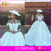 Custom Made Beaded Off Shoulder Design Ball Gown Wedding Dress High Quality Satin Fabric