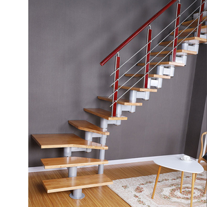 China Factory Design Curved Stair For Small House Interior Wooden Step