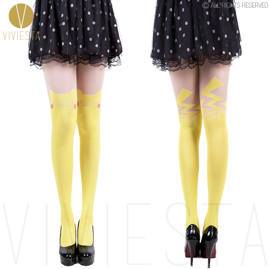 a95526bb6119a Buy CUTE PIKACHU COLORED TATTOO TIGHTS - 60D Women Girls Halloween Party  Cartoon Colour Sheer Thigh High Hosiery Stockings Pantyhose in Cheap Price  on ...