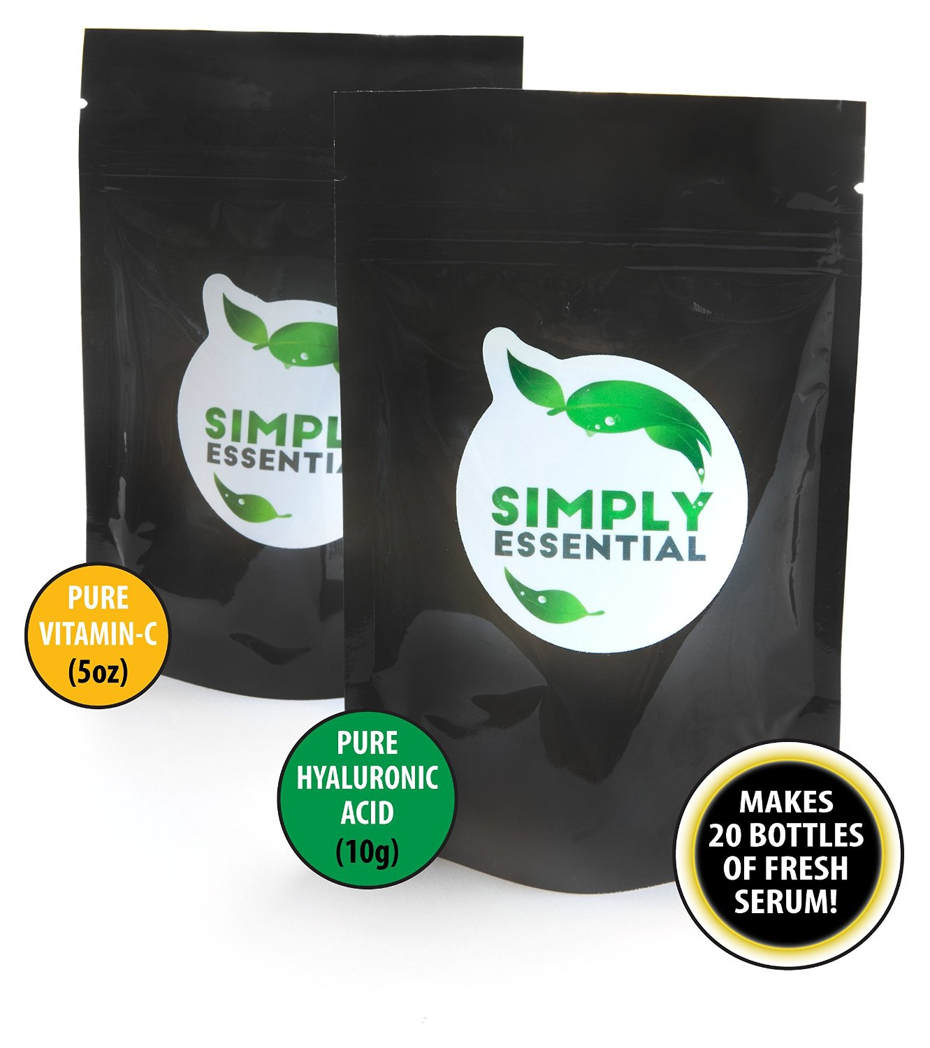 Simply Essential's **2-Powder Pack**| Ultra-Pure Hyaluronic Acid Powder & Ultra-Pure Vitamin-C Crystals | Makes 20 bottles of amazingly fresh serum!