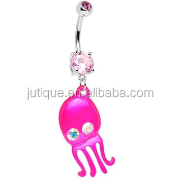 Aurora Gem Neon Baby Octopus Dangle Belly Ring