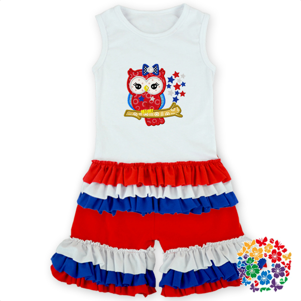 2016 innovative,wholesale kids clothing wholesale cute baby cotton clothes set fancy baby child baby Clothes 4th of july set